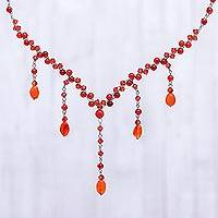 Carnelian choker, 'Ginger Empress' - Carnelian Y Necklace