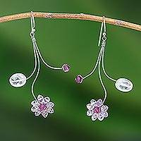 Amethyst and rose quartz earrings, 'Comet' - Amethyst Flower Earrings from Thailand