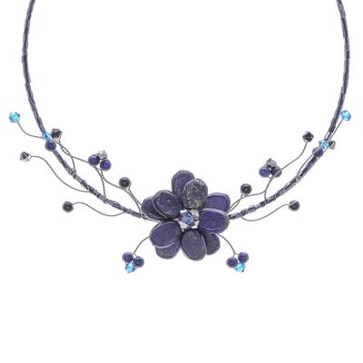 Hand Made Floral Lapis Lazuli Choker