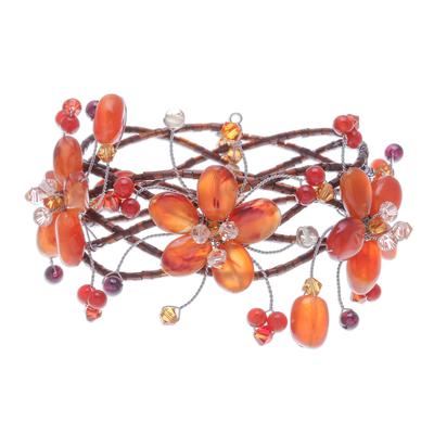 Floral Beaded Carnelian Bracelet