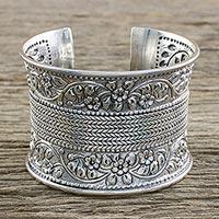 Sterling silver cuff bracelet, 'Basket of Jasmine'