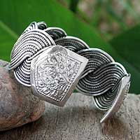 Sterling silver cuff bracelet, 'Tropical Surf' - Fair Trade Sterling Silver Cuff Bracelet