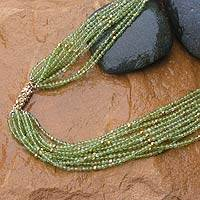 Peridot long beaded necklace, Sparkling Green Scarf' - Peridot long beaded necklace