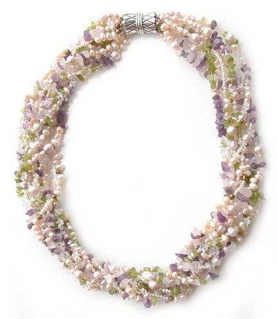 Pearl and Amethyst Torsade Necklace from Thailand
