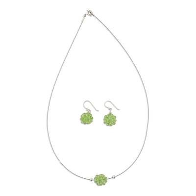 Peridot Necklace and Earrings Jewelry Set