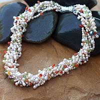 Pearl and rose quartz torsade necklace, 'Spring Flowers' - Pearl and rose quartz torsade necklace