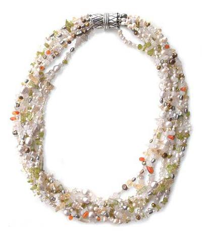 Pearl and rose quartz torsade necklace