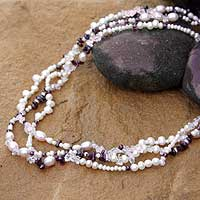 Pearl and garnet strand necklace, 'Rose Wind' - Pearl and garnet strand necklace