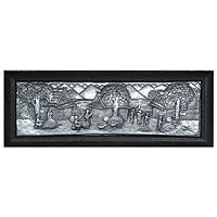 Aluminum repousse panel, 'Life in the Country' - Aluminum repousse panel