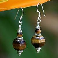 Tiger's eye dangle earrings, 'Golden Lantern' - Unique Silver and Tiger's Eye Dangle Earrings