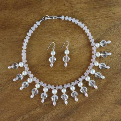 Pearl and quartz jewelry set, 'Nymph's Heart' - Pearl and quartz jewelry set