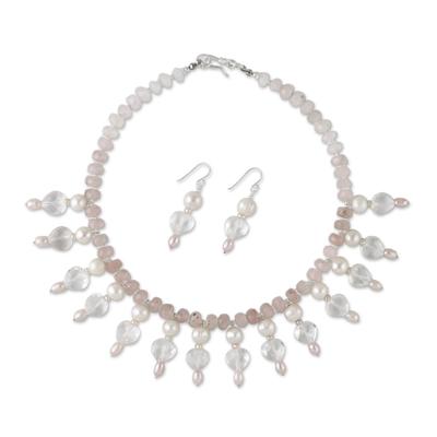 Pearl and quartz jewelry set