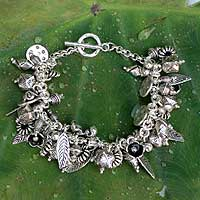 Sterling silver charm bracelet, 'Siamese Charms' (Thailand)