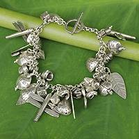 Silver charm bracelet, 'Gifts of Nature' (Thailand)
