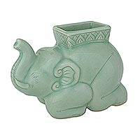 Celadon ceramic pencil stand, 'Kneeling Elephant' - Handcrafted Celadon Ceramic Pencil Stand