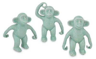 Fair Trade Celadon Ceramic Monkey Sculptures (Set of 3)