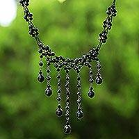 Pearl choker, 'Black Rain Shower' - Thai Pearl Waterfall Necklace
