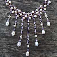 Pearl waterfall necklace, 'Lilac Rain Shower' - Pearl waterfall necklace