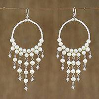 Pearl chandelier earrings, 'Harmony of White' - Handmade Pearl Chandelier Earrings