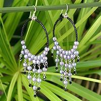 Pearl chandelier earrings, 'Harmony of Black' - Pearl Chandelier Earrings