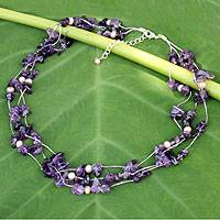 Pearl and amethyst strand necklace, 'Natural Spectacular' - Beaded Amethyst Necklace