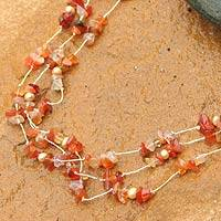 Pearl and carnelian strand necklace, 'Natural Spectacular' - Artisan Crafted Beaded Carnelian Necklace