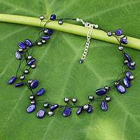 Pearl and lapis lazuli choker, 'Ethereal' - Beaded Lapis Lazuli and Pearl Necklace from Thailand