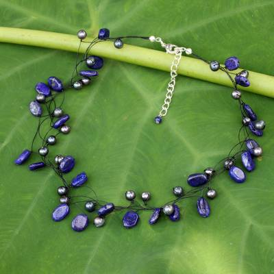 Cultured pearl and lapis lazuli choker, 'Ethereal' - Lapis Lazuli and Cultured Pearl Necklace from Thailand