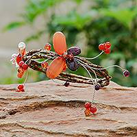 Carnelian and garnet wrap bracelet, 'Butterfly Bloom' - Hand Crafted Floral Carnelian Beaded Bracelet