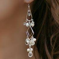 Pearl chandelier earrings, 'Delight' - Pearl chandelier earrings