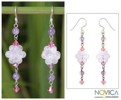 Rose quartz and amethyst dangle earrings, Enchanted Bloom
