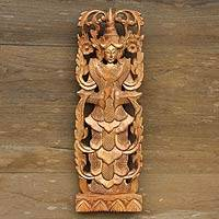 Teak relief panel, 'Greeting from an Angel' - Teak relief panel