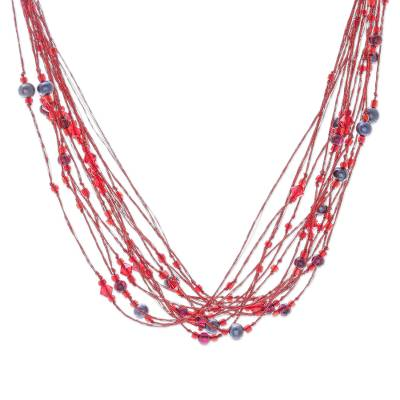 Pearl and Garnet Torsade Necklace