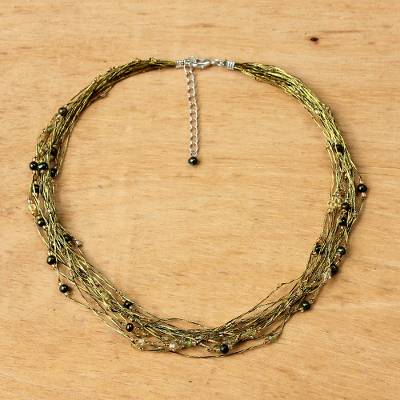 Pearl and peridot torsade necklace, 'River of Green' - Peridot and Pearl Torsade Necklace