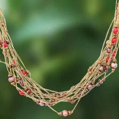 Pearl and carnelian torsade necklace, 'River of Gold' - Carnelian and Pearl Torsade Necklace