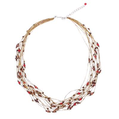Carnelian and Pearl Torsade Necklace