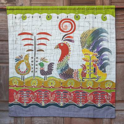 Cotton wall hanging, 'Bird Fancy' - Batik Cotton Wall Hanging