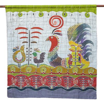 Cotton wall hanging, 'Bird Fancy' - Batik Cotton Wall Hanging