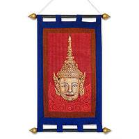 Silk wall hanging, 'Laksmana' - Silk wall hanging