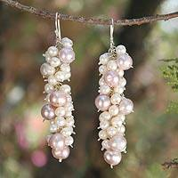 Pearl cluster earrings, 'Pink Cluster' - Fair Trade Pearl Earrings