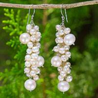 Pearl cluster earrings, 'Full Moon' - Pearl Cluster Earrings