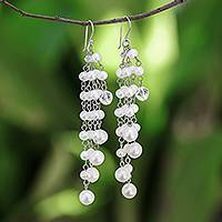 Pearl waterfall earrings, 'Promise' - Handcrafted Pearl Waterfall Earrings