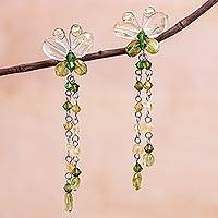 Peridot and citrine dangle earrings, 'Flight' - Unique Beaded Peridot and Citrine Earrings