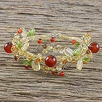 Citrine and carnelian wrap bracelet, 'Summer Forest' - Citrine and carnelian wrap bracelet