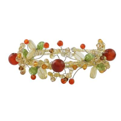 Citrine and carnelian wrap bracelet