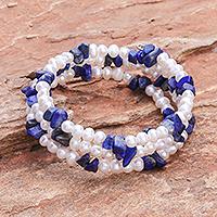 Pearl and lapis lazuli wrap bracelet, 'Blue Solstice' (Thailand)