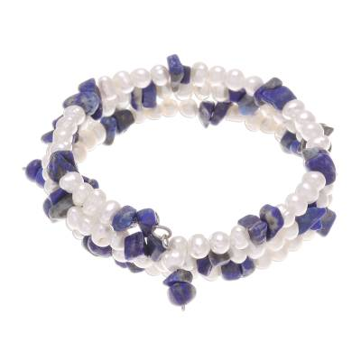 Pearl and Lapis Lazuli Wristband Bracelet
