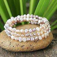 Pearl wrap bracelet, 'Rose Solstice' - Pearl wrap bracelet