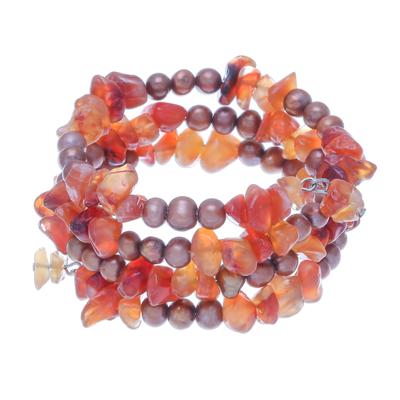 Beaded Carnelian and Pearl Bracelet