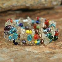 Pearl and quartz wrap bracelet, 'Rainbow Solstice' - Handcrafted Multigem Wrap Bracelet